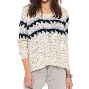 Free People   Natural Fuzzy Fair Isle Sweater